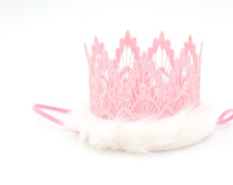 Holiday || Pink Snow Bunny Sienna crown || Nutcracker || | lace crown headband|| photography prop