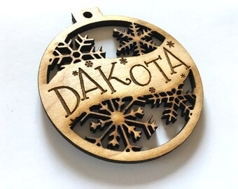 Dakota - Customizable Christmas Ornament - Engraved Birch Wood Ornament