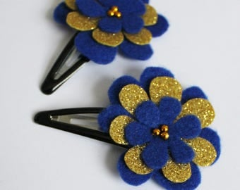 Blue and Gold Hair Clips - Set of 2  Snap Clips - Hair Clip - Felt Hairclip for Girls - Hair Slide