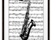 Tenor Saxophone Art Print, Mixed Media Collage, Sax Player, Saxophone Player, Symphony Orchestra, Marching Band, Jazz, Pop, Rock