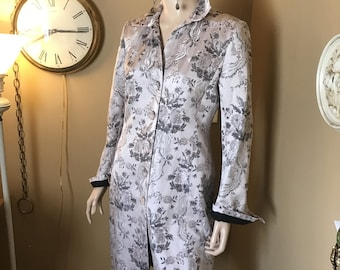 Vintage Silk  jacket. Vogue Kay Unger For Neiman Marcus.Size Small .Shabby shiek .black print silk lined. classic cloth covered  button down