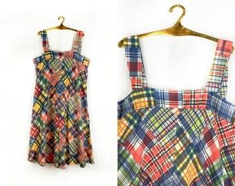 SALE Vintage 1970s Rainbow Plaid Boho Dress size Large 12 / 14