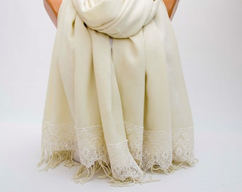 SALE - Luxurios ivory pashmina shawl scarf ,bridesmaid shawl, bridesmaid gift