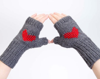 CLEARANCE SALE -Knit fingerless heart gloves cross stitched winter gloves