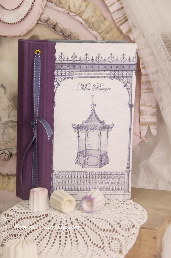 """Garden book  pavillion called """"la gloriette"""".   linen garden  organizer personalize"""