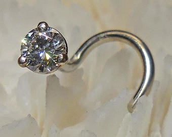 MOISSANITE, 3 or 3.5mm, 14KW, gold nose jewelry, diamond nose jewelry, diamonds, nose stud, Charles and Colvard Moissanite, nose jewelry,
