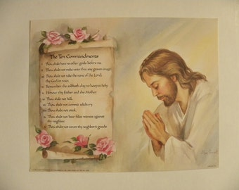 Religious 10 Commandments 8 x 10 Litho Print by Artist Alan Grant and Printed in USA