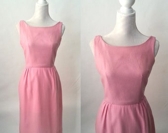 Vintage 1950s Pink Wool Wiggle Dress by Wendy Woods, Small