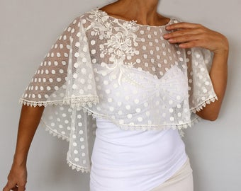 Bridal Shrug Cape, Cream Dotted Tulle Wedding Dress Cover Shawl,  Bridal Capelet Poncho, Lace Applique, Minimal Modern