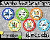 Bounce house Cupcake Toppers Boy jump Birthday Party Decorations cupcake picks Custom bounce house cake toppers cupcake tops 12 assembled