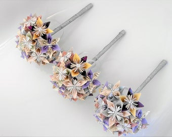 Bespoke Order to your Requirements of three Bridemaid's Bouquets, Origami Wedding Flowers, 15 Flowers with 6 Petals each