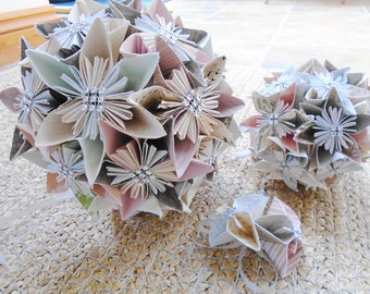 Example of a basic set of Wedding Flowers to your Requirements, Paper Flowers, Bride's Bouquet, Bridesmaid's Bouquet, Boutonniere