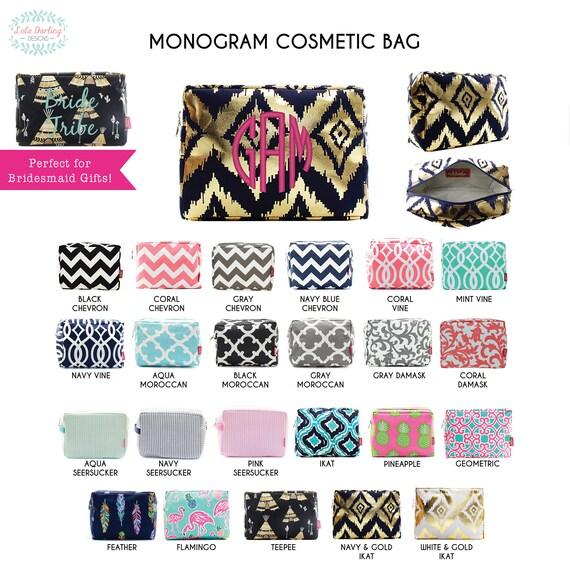 Monogram Cosmetic Bag Makeup Bag Pencil Case Zipper Pouch