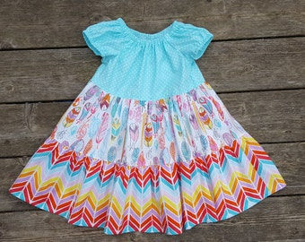 Girl's Toddlers Feathers and Rainbow Herringbone Twirly Tiered Peasant Dress