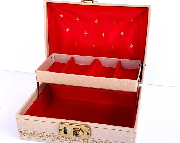 Vintage 1960's White and Gold Jewelry Box with Red Lining