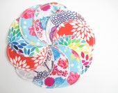Cloth Nursing Pads--5 Pairs--Bright Floral Mix--Fleece/ZorbII/Flannel--Ready to Ship