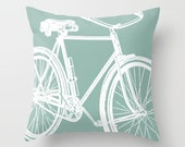 Bicycle Silhouette Throw Pillow, 12 Pastel Color Options, Indoor, Outdoor, Modern Bedding, Romantic, Chic, Customizable, Black White Bike