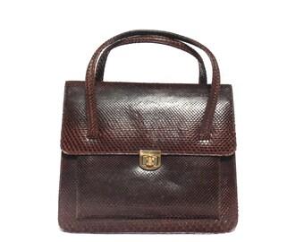 1940's 1950's Brown Snakeskin Handbag Purse