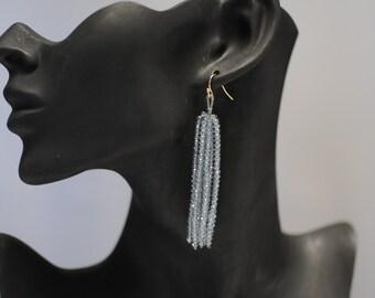 Tassel earrings, Chunky beaded Earrings, Grey Earrings, Dangle earrings, Long earrings, Gift for her, Drop Earrings