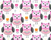 Clearance Destash Flannel Fabric by the Yard in a Pink, Grey, Black and White Fun Owl Print 1 Yard