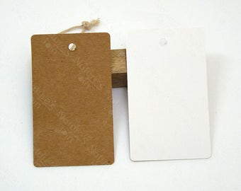 """100pcs Blank Rectangle Kraft / White Paper Tags 3.5""""x2.1"""" / 90x54mm, Die Cut Gift Tag, Packaging Hangtag Label, Crafts Supplies, CRTS-0175"""