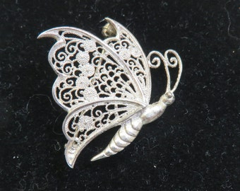 Wirework Butterfly Pin, European Silver Wire Work, Gorgeous