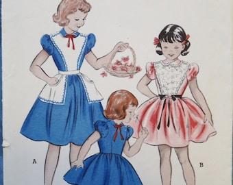 Vintage Butterick Girls Dress Pinafore Sewing Pattern Breast 21 Pattern 6616