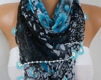 ON SALE --- Turkish Blue Floral Cotton Scarf,Oya, Yemeni,Cowl Shawl Mom Bridesmaid Gift Bridal Accessories Gift Ideas For Her, Women Fashion