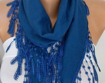 ON SALE --- Navy Blue Pashmina Scarf,Necklace,Cowl,Wedding Scarf,Bridesmaid Gift,Gift Ideas For Her Women Fashion Accessories - fatwoman