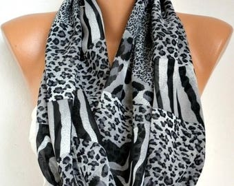 ON SALE --- Gray Leopard - Infinity Scarf Shawl Circle Scarf Loop Scarf  Gift -fatwoman