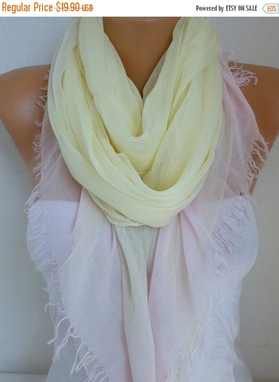 ON SALE --- Yellow & Pink Cotton Scarf Soft Shawl Spring Summer Cowl Oversized Wrap Gift Ideas For Her Women Fashion Accessories Teacher Gif