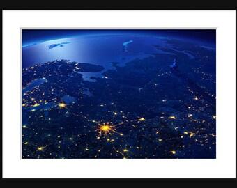 NASA - Earth At Night - Eastern Europe - Print - Poser