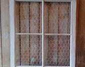 Old Chicken Wire Window, Photo board, Vintage wedding, Vintage four pane window, Shabby Cottage decor, Urban Farmhouse Home decor