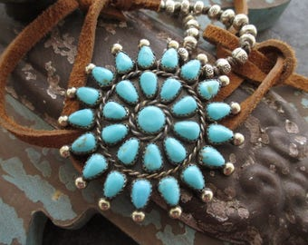Vintage turquoise necklace - SunShine - sterling and fine silver artisan leather necklace southwestern boho by slashKnots