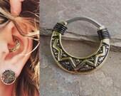Gold Tribal Daith Piercing Rook Earring Hoop Gold Clicker