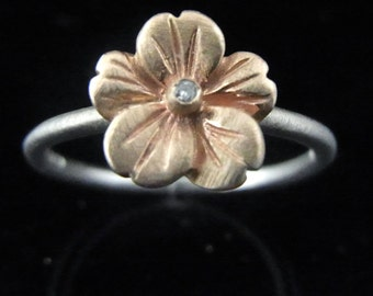 Diamond 14k White Rose Pink Gold Flower Ring Stacking Contemporary 9.6mm
