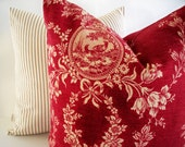 French Country Toile Pillow Waverly Floral Red Waverly Country House Toile Red BOTH SIDES
