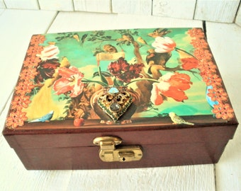 Vintage jewelry box burgundy tiered birds flowers embellished jewelry finding- free shipping US