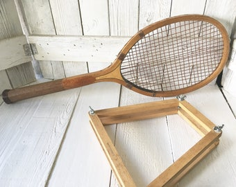 Vintage tennis racket racquet all natural wood with wood press  1930s