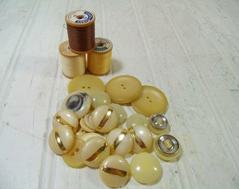 Vintage Variety of Ivory Color Buttons Collection - Includes 6 Risdon Buttons for Repurposing Upscaling Upcycling - 25 Old Used Buttons