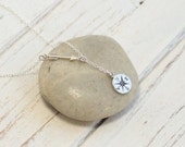 Sterling Silver Arrow and Compass Lariat Necklace