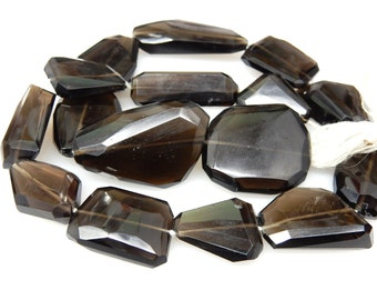 Smokey Quartz Flate Nuggets Faceted Tumble  Beads AAA Quality  14'' Huge Size 16x16MM To 14x30 MM Approx - 308Ct Wholesale Price