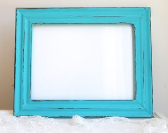 Teal Blue Frame Picture Frame Shabby Chic Frame Rustic Wood Open Frame Beach Wall Decor