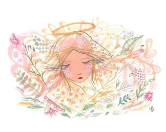 Garden angel painting original girl and flowers artwork
