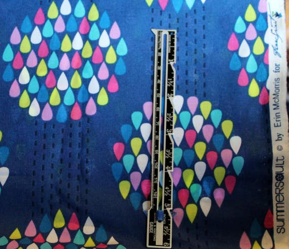 """Raindrops Fabric,100 % Cotton Fabric,Quilt Fabric,Craft Fabric,Apparel Fabric,Blue Fabric,Free Spirit,END OF BOLT Remnant 1 Yard 9"""" x 22"""" W"""