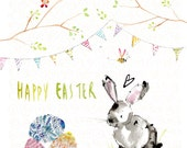 Handmade Easter Card Eggs/Bunny