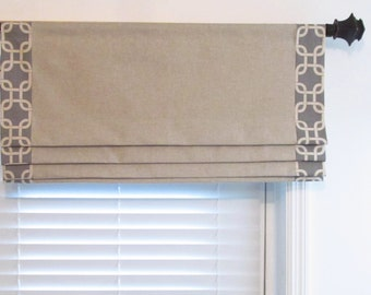 Banded Faux Roman Shade  Linen Natural/Gray Trimmed Mock Valance Original Design by SoD