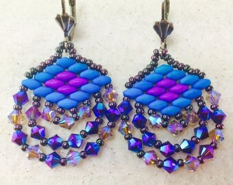 Purple and Blue Earring, Crystal Earrings, Super Duo Earrings, Swarovski Beaded Earrings, Crystal Dangle Earrings, Beadwork Earrings