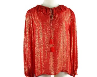 YVES SAINT LAURENT Metallic Tassel Peasant Gypsy  Red  Blouse with Wide Gathered Boho Gypsy Sleeves Size