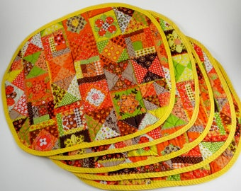 Vintage Quilted Placemats Cotton Place Mats Retro Orange Yellow Calico Patchwork Print Geometric Reversible Oval Set of 5